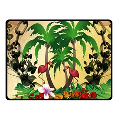 Tropical Design With Flamingo And Palm Tree Fleece Blanket (Small)