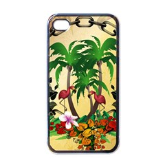 Tropical Design With Flamingo And Palm Tree Apple iPhone 4 Case (Black)