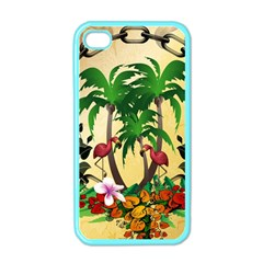 Tropical Design With Flamingo And Palm Tree Apple Iphone 4 Case (color)