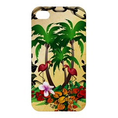Tropical Design With Flamingo And Palm Tree Apple iPhone 4/4S Premium Hardshell Case