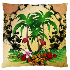 Tropical Design With Flamingo And Palm Tree Large Cushion Case (Two Sides)