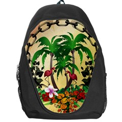 Tropical Design With Flamingo And Palm Tree Backpack Bag