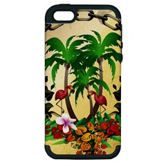 Tropical Design With Flamingo And Palm Tree Apple iPhone 5 Hardshell Case (PC+Silicone)