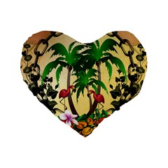 Tropical Design With Flamingo And Palm Tree Standard 16  Premium Heart Shape Cushions