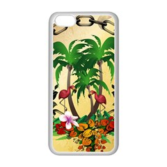 Tropical Design With Flamingo And Palm Tree Apple iPhone 5C Seamless Case (White)
