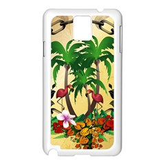 Tropical Design With Flamingo And Palm Tree Samsung Galaxy Note 3 N9005 Case (White)