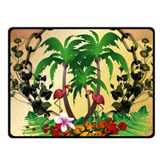 Tropical Design With Flamingo And Palm Tree Double Sided Fleece Blanket (Small)
