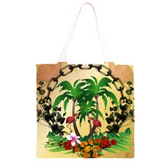 Tropical Design With Flamingo And Palm Tree Grocery Light Tote Bag