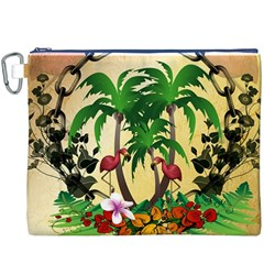 Tropical Design With Flamingo And Palm Tree Canvas Cosmetic Bag (XXXL)