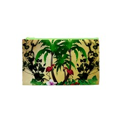 Tropical Design With Flamingo And Palm Tree Cosmetic Bag (XS)