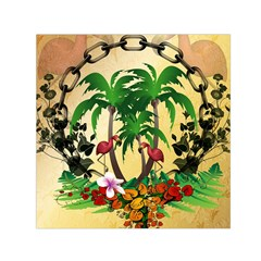 Tropical Design With Flamingo And Palm Tree Small Satin Scarf (Square)