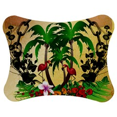 Tropical Design With Flamingo And Palm Tree Jigsaw Puzzle Photo Stand (Bow)