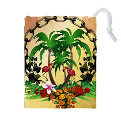 Tropical Design With Flamingo And Palm Tree Drawstring Pouches (Extra Large)