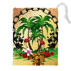 Tropical Design With Flamingo And Palm Tree Drawstring Pouches (xxl)