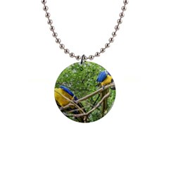South American Couple Of Parrots Button Necklaces
