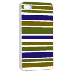 Olive Green Blue Stripes Pattern Apple iPhone 4/4s Seamless Case (White)