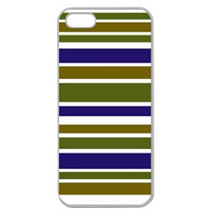 Olive Green Blue Stripes Pattern Apple Seamless iPhone 5 Case (Clear)