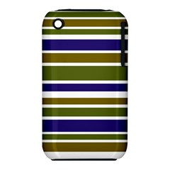 Olive Green Blue Stripes Pattern Apple iPhone 3G/3GS Hardshell Case (PC+Silicone)