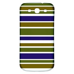 Olive Green Blue Stripes Pattern Samsung Galaxy S3 S III Classic Hardshell Back Case