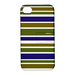Olive Green Blue Stripes Pattern Apple iPhone 4/4S Hardshell Case with Stand
