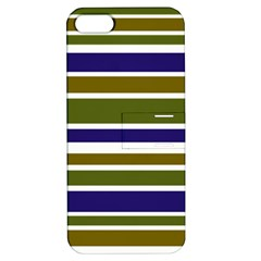 Olive Green Blue Stripes Pattern Apple iPhone 5 Hardshell Case with Stand