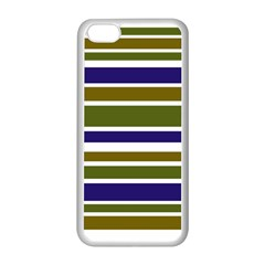 Olive Green Blue Stripes Pattern Apple iPhone 5C Seamless Case (White)