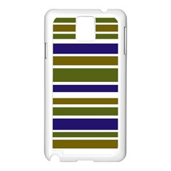 Olive Green Blue Stripes Pattern Samsung Galaxy Note 3 N9005 Case (White)