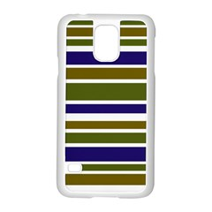 Olive Green Blue Stripes Pattern Samsung Galaxy S5 Case (White)