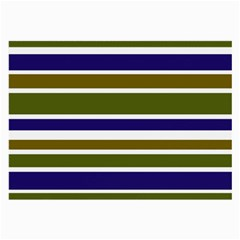Olive Green Blue Stripes Pattern Large Glasses Cloth (2-Side)