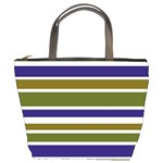 Olive Green Blue Stripes Pattern Bucket Bags Front