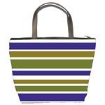 Olive Green Blue Stripes Pattern Bucket Bags Back