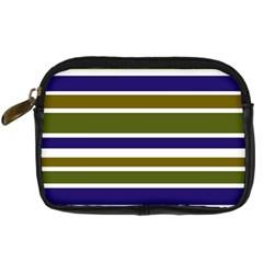 Olive Green Blue Stripes Pattern Digital Camera Cases