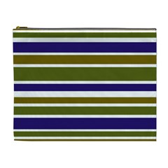 Olive Green Blue Stripes Pattern Cosmetic Bag (XL)