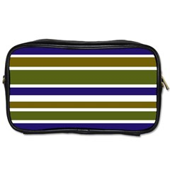 Olive Green Blue Stripes Pattern Toiletries Bags