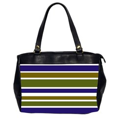 Olive Green Blue Stripes Pattern Office Handbags (2 Sides)
