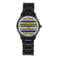 Olive Green Blue Stripes Pattern Stainless Steel Round Watch
