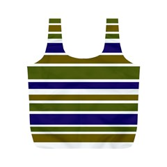 Olive Green Blue Stripes Pattern Full Print Recycle Bags (M)