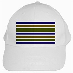 Olive Green Blue Stripes Pattern White Cap