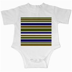 Olive Green Blue Stripes Pattern Infant Creepers