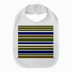 Olive Green Blue Stripes Pattern Bib