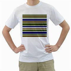 Olive Green Blue Stripes Pattern Men s T-Shirt (White) (Two Sided)