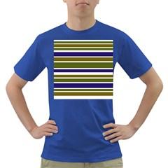 Olive Green Blue Stripes Pattern Dark T-Shirt