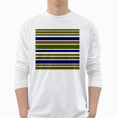 Olive Green Blue Stripes Pattern White Long Sleeve T-Shirts