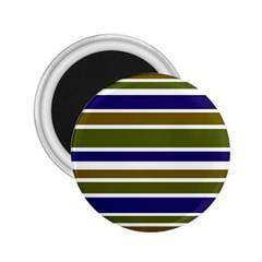Olive Green Blue Stripes Pattern 2.25  Magnets