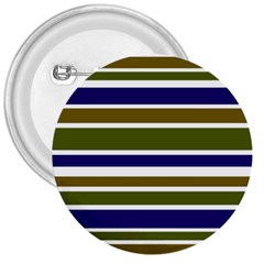Olive Green Blue Stripes Pattern 3  Buttons