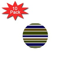 Olive Green Blue Stripes Pattern 1  Mini Buttons (10 pack)
