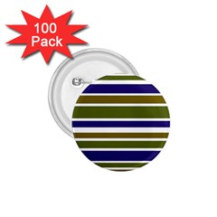 Olive Green Blue Stripes Pattern 1.75  Buttons (100 pack)