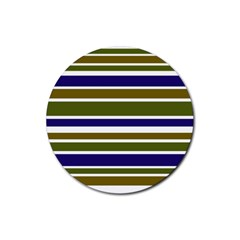 Olive Green Blue Stripes Pattern Rubber Round Coaster (4 pack)