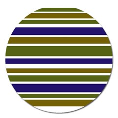 Olive Green Blue Stripes Pattern Magnet 5  (Round)