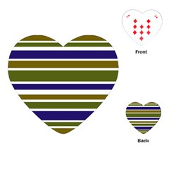 Olive Green Blue Stripes Pattern Playing Cards (Heart)
